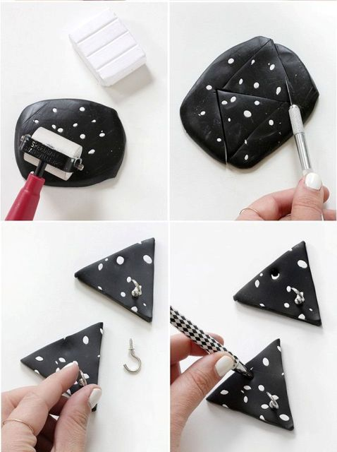 Picture Of Black And White DIY Triangle Clay Necklace Hooks 5