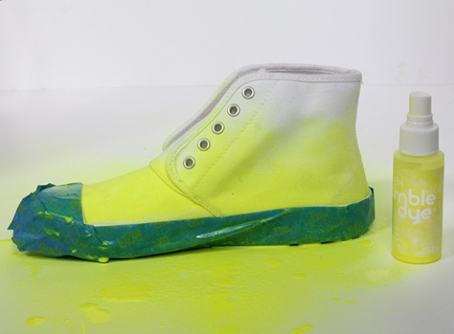 Picture Of Bright DIY Dyed Neon Sneakers 4