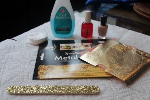 Bright DIY Gold Leaf Pedicure