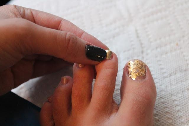 Picture Of Bright DIY Gold Leaf Pedicure 5