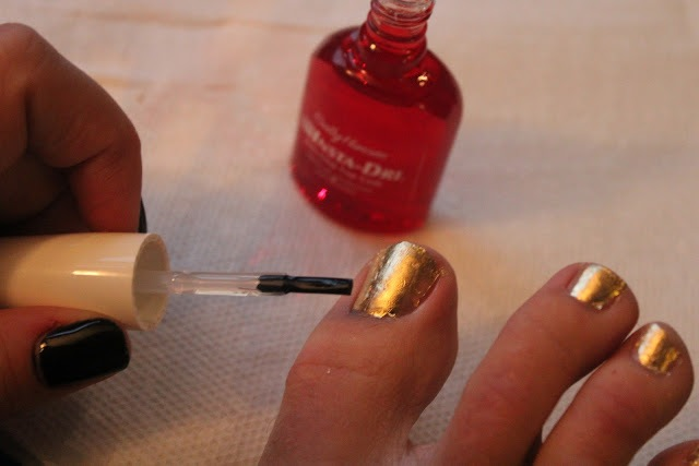 Picture Of Bright DIY Gold Leaf Pedicure 7