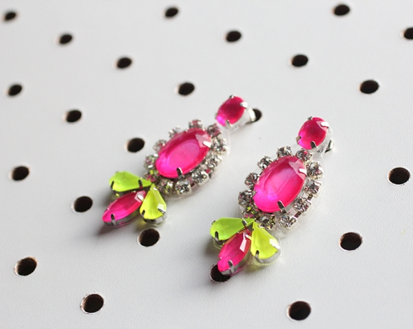 Picture Of Bright DIY Neon Gem Earrings 2