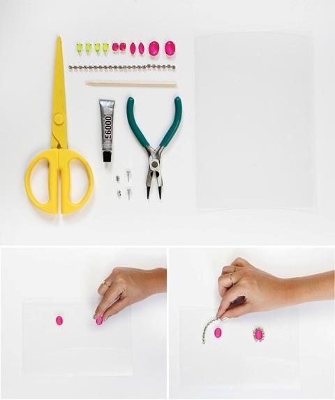 Bright DIY Neon Gem Earrings