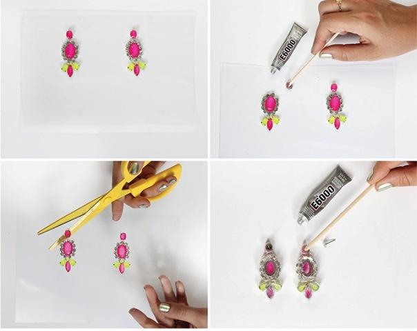 Picture Of Bright DIY Neon Gem Earrings 4