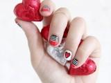 Bright DIY Valentine's Day Stripes And Hearts Nail Art