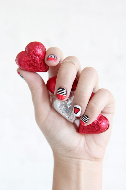 Bright DIY Valentine's Day Stripes And Hearts Nail Art