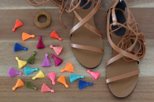 Charming DIY Tassel Greek Sandals