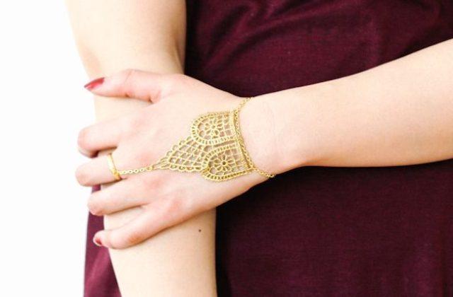 Chic DIY Metallic Lace Hand Chain