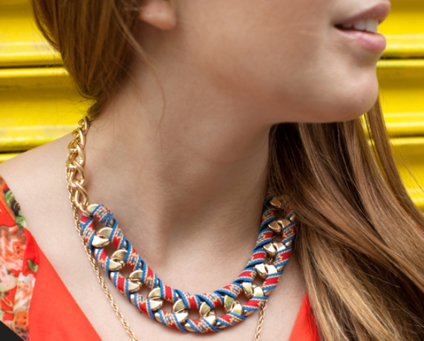 Chic DIY Ribbon Wrapped Chain Necklace