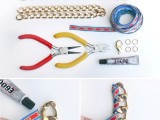 Chic DIY Ribbon Wrapped Chain Necklace2