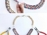 Chic DIY Ribbon Wrapped Chain Necklace3