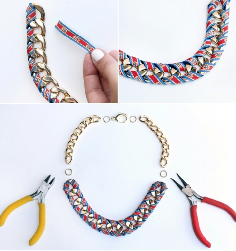 Picture Of Chic DIY Ribbon Wrapped Chain Necklace 3
