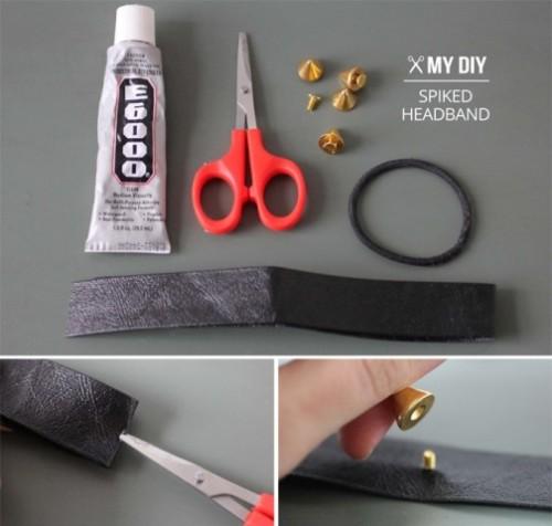 DIY Leather Spike Headband To Make A Statement