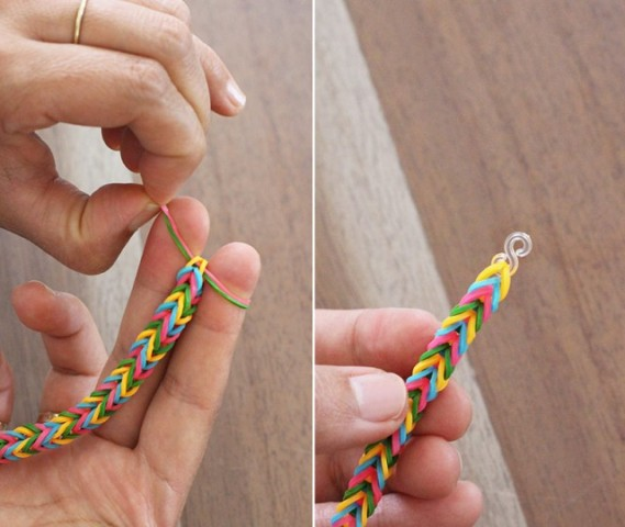 Picture Of Colorful DIY Finger Fishtail Loom Bracelet 6
