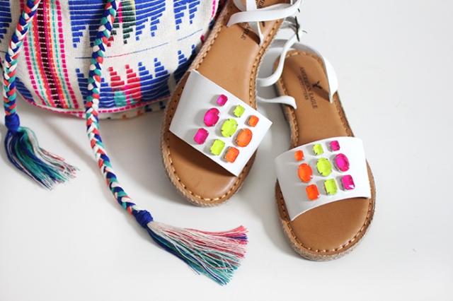 Colorful DIY Neon Gem Sandals