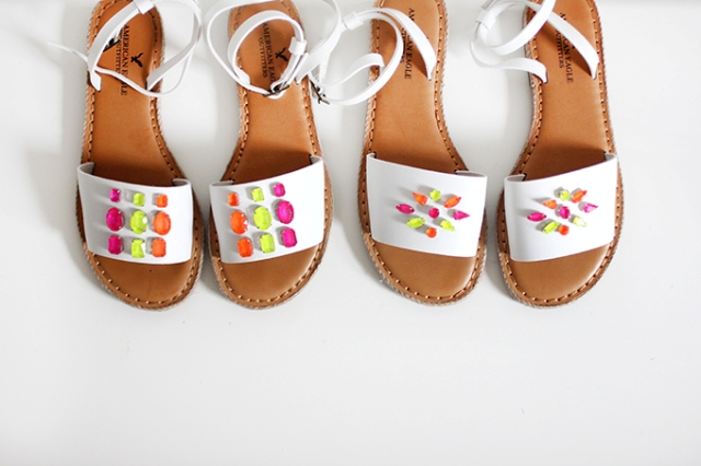 Picture Of Colorful DIY Neon Gem Sandals 2