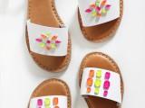 Colorful DIY Neon Gem Sandals3