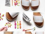 Colorful DIY Neon Gem Sandals4
