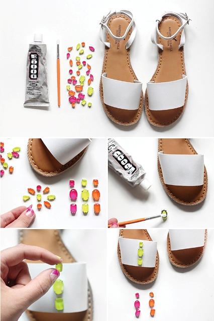 Picture Of Colorful DIY Neon Gem Sandals 4