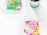 Colorful DIY Neon Marbled Jewelry Tray2