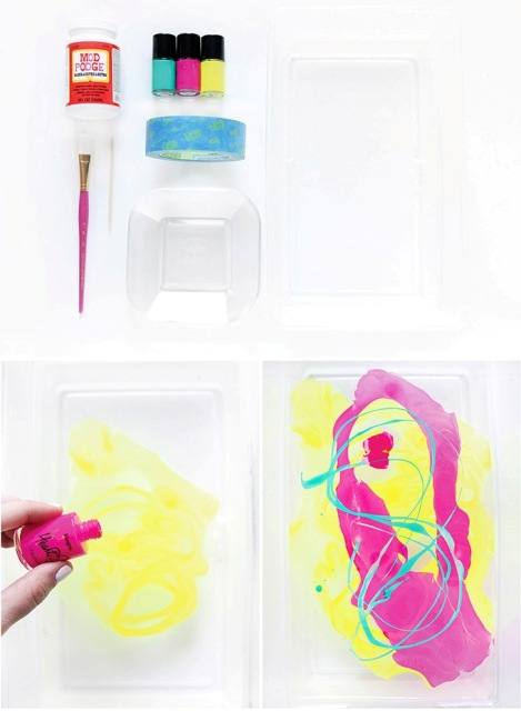 Colorful DIY Neon Marbled Jewelry Tray