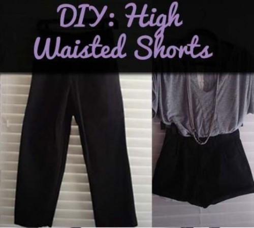 Comfortable DIY High Waisted Shorts From Men's Pants