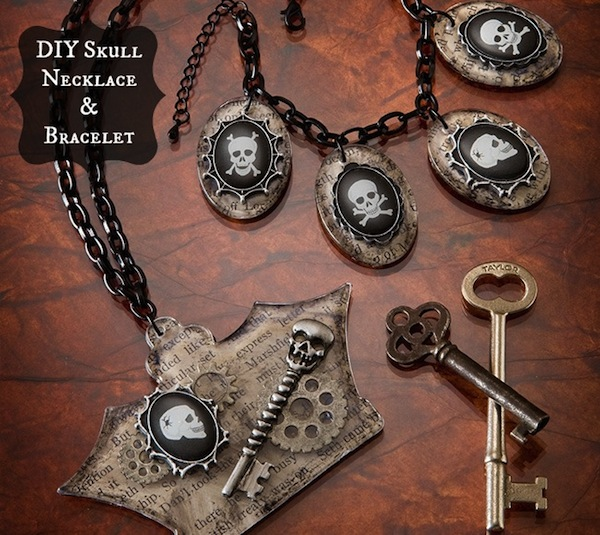 Picture Of Cool DIY Skeleton Bracelet And Necklace For Halloween 1