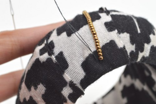Cozy DIY Fabric Wrapped And Beaded Bangle