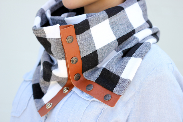 Cozy DIY Leather And Flannel Snap Scarf