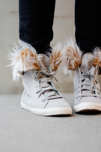Picture Of Cozy DIY Removable Fur Lined High Tops 3