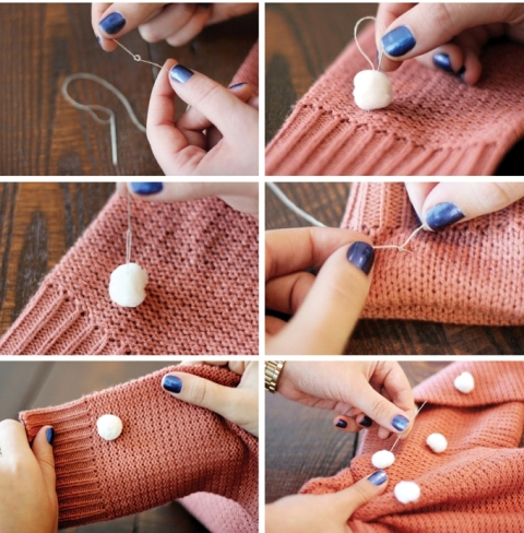 Picture Of Creative DIY Pom Pom Sweater 3