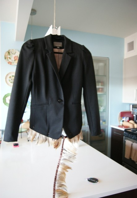 Creative DIY Removable Feather Trim Jacket