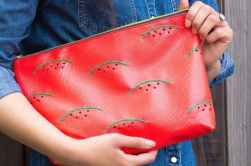 Creative DIY Watermelon Embroidered Clutch