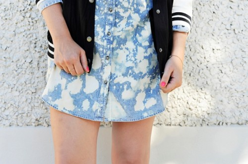 Cute DIY Bleach Dyed Chambray Dress