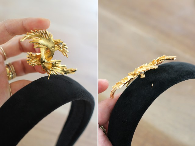 Picture Of Cute DIY Dolce & Gabbana Inspired Vintage Brooch Headband 3