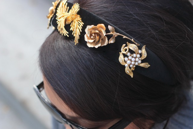 Picture Of Cute DIY Dolce & Gabbana Inspired Vintage Brooch Headband 7
