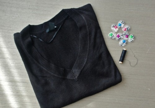Cute DIY Embellished Jumper