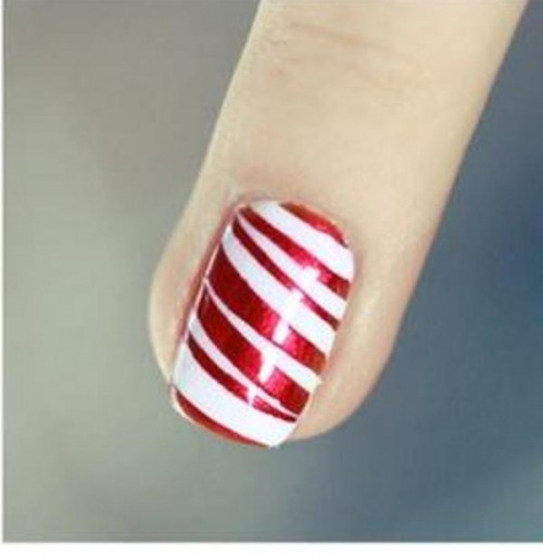 DIY Bright Striped Nail Design