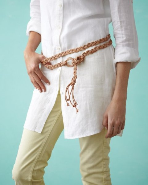 DIY Classical Braided Leather Lace Belt