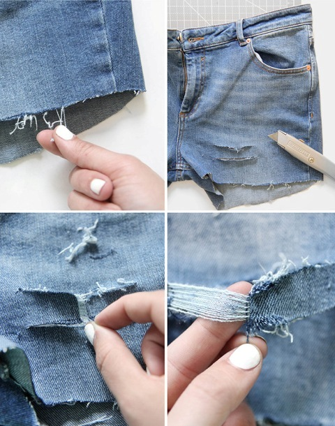 Picture Of DIY Distressed Denim Shorts From Your Old Jeans 4