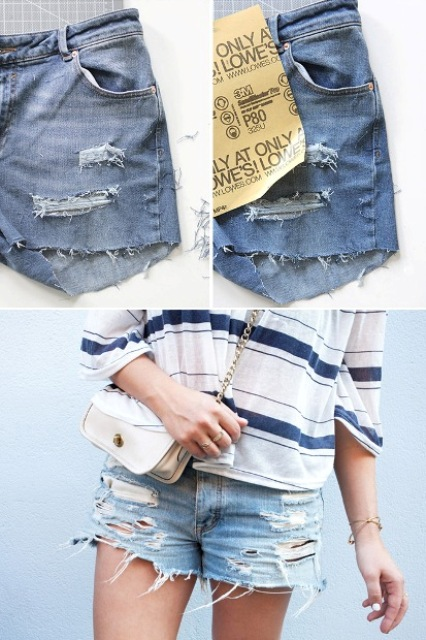 Picture Of DIY Distressed Denim Shorts From Your Old Jeans 5