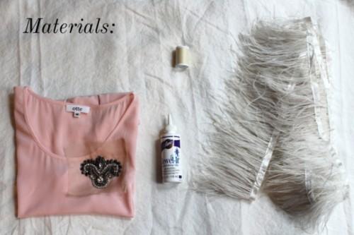 Feminine DIY Feather Peplum Top