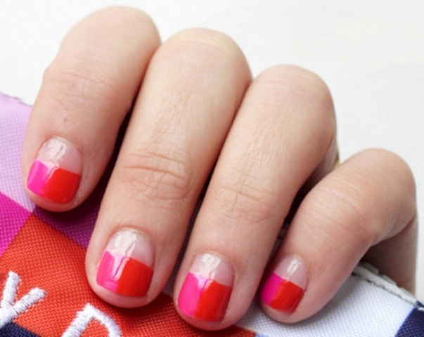 Diy funny pink and red color nails styleoholic