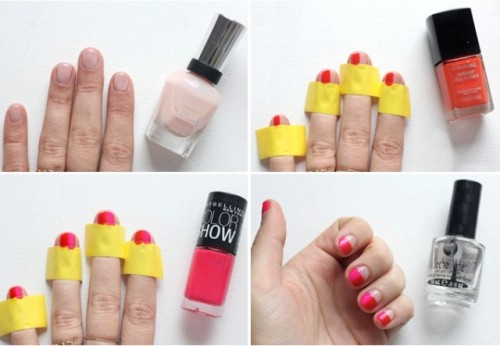 Funny DIY Pink And Red Color Nails