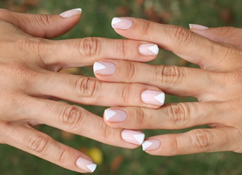 DIY Geometric Nail Art In Nude Shades