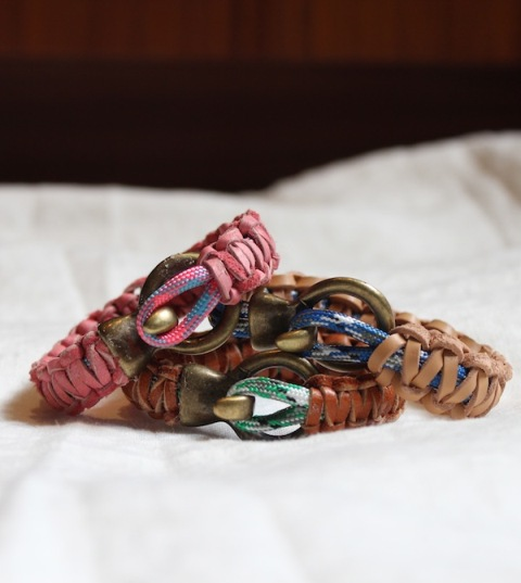 DIY Leather And Climbing Rope Macrame Bracelets