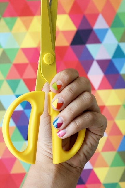 Picture Of DIY Nail Art With Technicolor Triangles 2