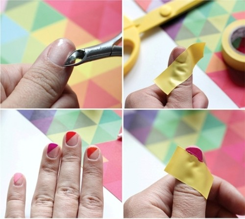 DIY Nail Art With Technicolor Triangles