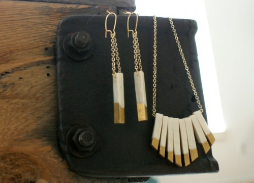 DIY Gilded Earrings And Necklace Set