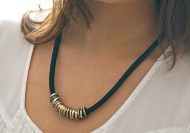 DIY Posh Ringed Cord Necklace